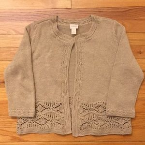 Chico's Tan Knit Sweater Macrame Size 1